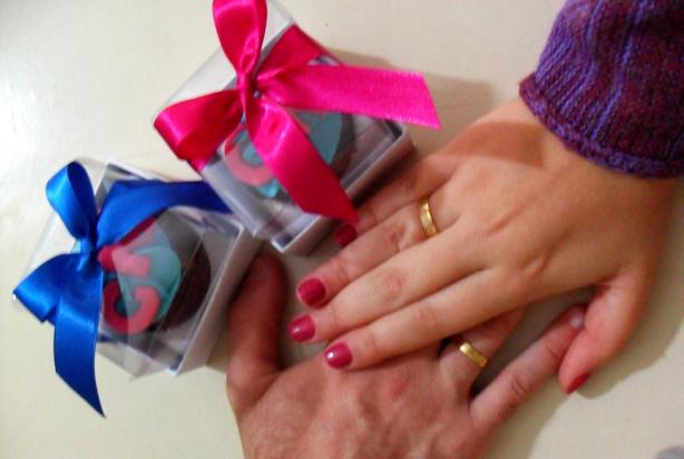 Cupcake para Noivado Azul e Rosa | Confeitaria da Luana