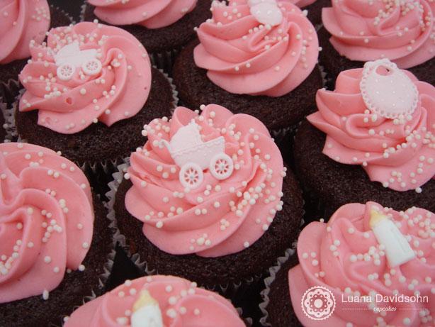 Cupcake Chá de Bebê Rosa e Branco | Confeitaria da Luana