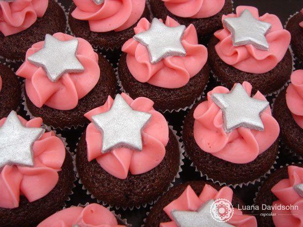 Cupcake azul e rosa