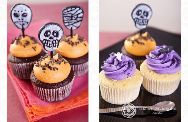 Cupcake de Halloween Roxo e Laranja | Confeitaria da Luana