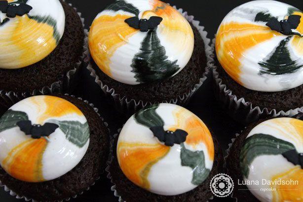 Cupcake de Morcegos Halloween | Confeitaria da Luana
