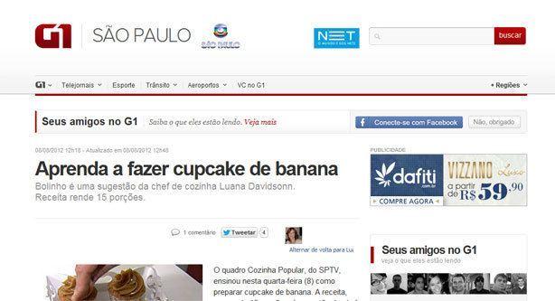 Receita Cupcake de Banana SPTV | Confeitaria da Luana