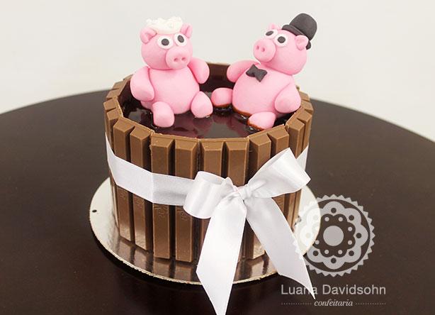 Bolo de Casamento com Porquinhos | Confeitaria da Luana