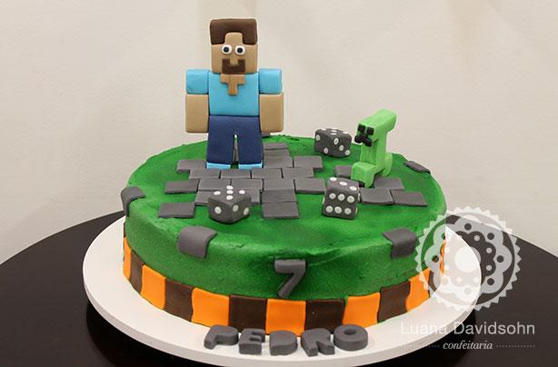 Bolo do Minecraft | Confeitaria da Luana