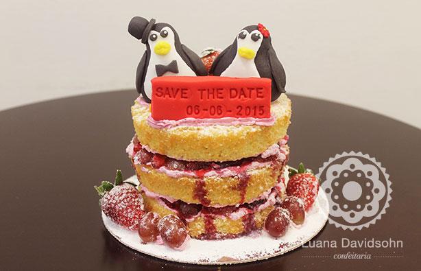 Bolo para Noivado com Pinguins | Confeitaria da Luana