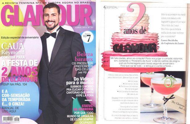 Nosso bolo na Revista Glamour 2 anos | Confeitaria da Luana