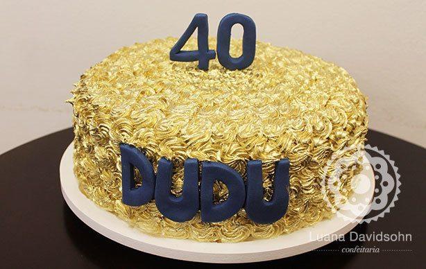 Bolo de Aniversario 40 Anos Feminino Bolo Dourado Para 40 Anos