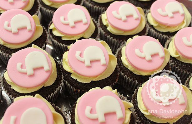 Cupcake com Elefante para Chá de Bebê | Confeitaria da Luana