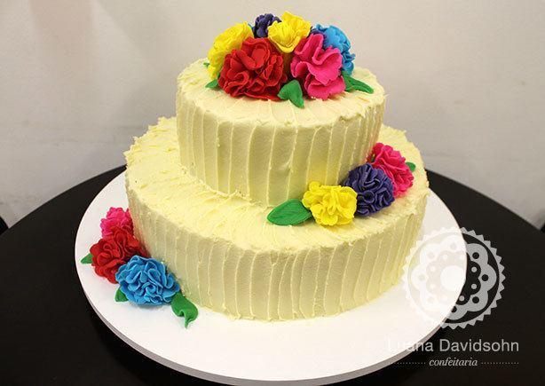 Bolo Casamento Flores Coloridas | Confeitaria da Luana