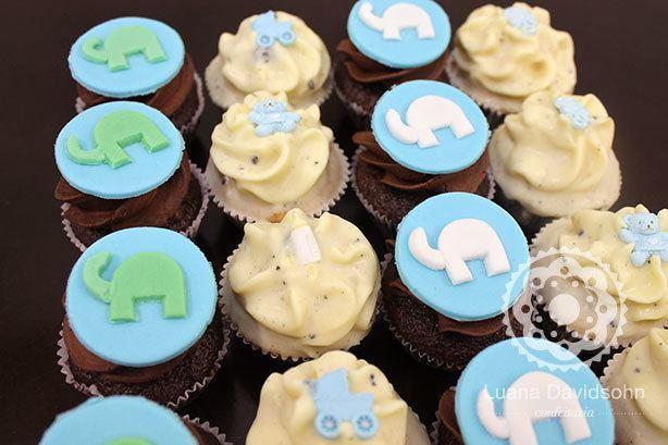 Cupcake Chá de Bebê Elefantes | Confeitaria da Luana