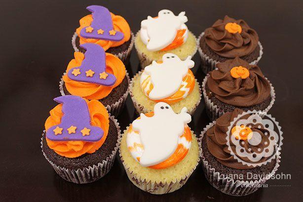 Cupcakes Halloween Chapéu de Bruxa | Confeitaria da Luana