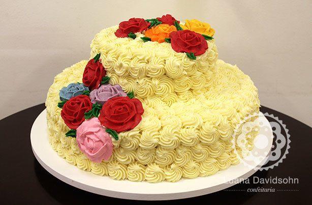 Bolo Aniversário Flores | Confeitaria da Luana