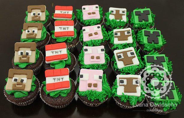 Cupcakes do Minecraft | Confeitaria da Luana