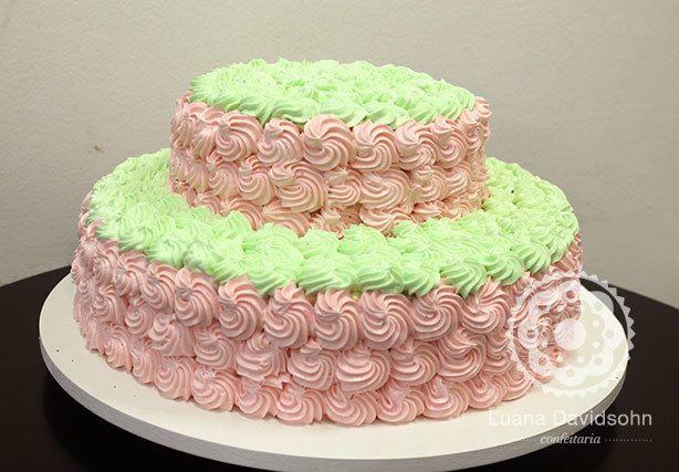 Bolo Candy Color Verde e Rosa | Confeitaria da Luana