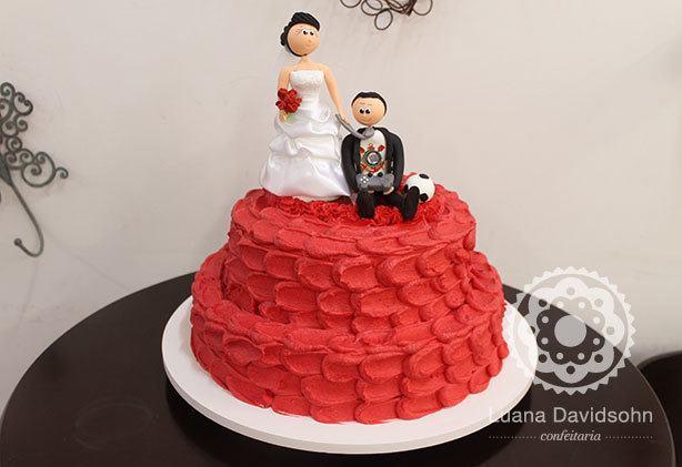 Bolo para Casamento Vermelho | Confeitaria da Luana