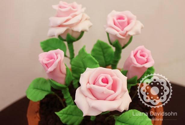 Bolo Vaso de Flor Rosas