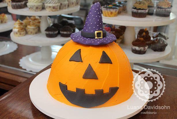 Bolo de Halloween Abóbora | Confeitaria da Luana