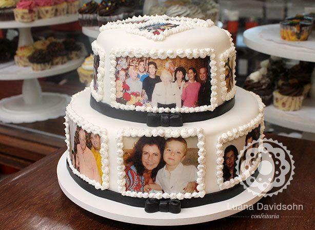 Bolo com Fotos da Família | Confeitaria da Luana