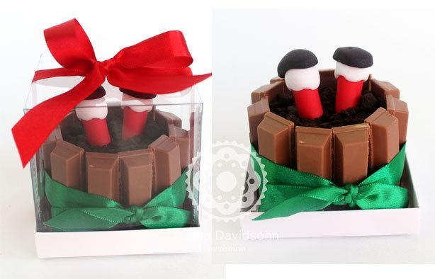 Bolo Kit Kat de Natal (mini) | Confeitaria da Luana