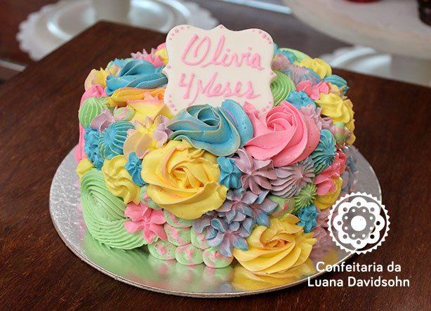 Bolo Mesversário Menina | Confeitaria da Luana