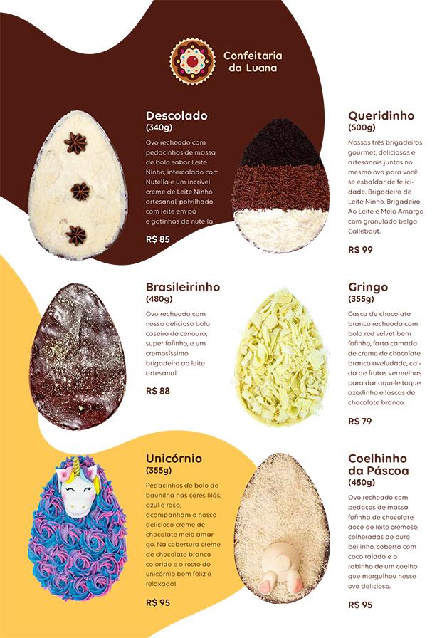 ovos de páscoa confeitaria da luana
